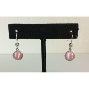 Roman Pierced Earrings Dangling Moon Stone Silver